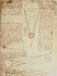 Image: Leonardo da Vinci - Codex Leicester f.1r: notes on the earth and moon, their sizes and relationships to the sun.